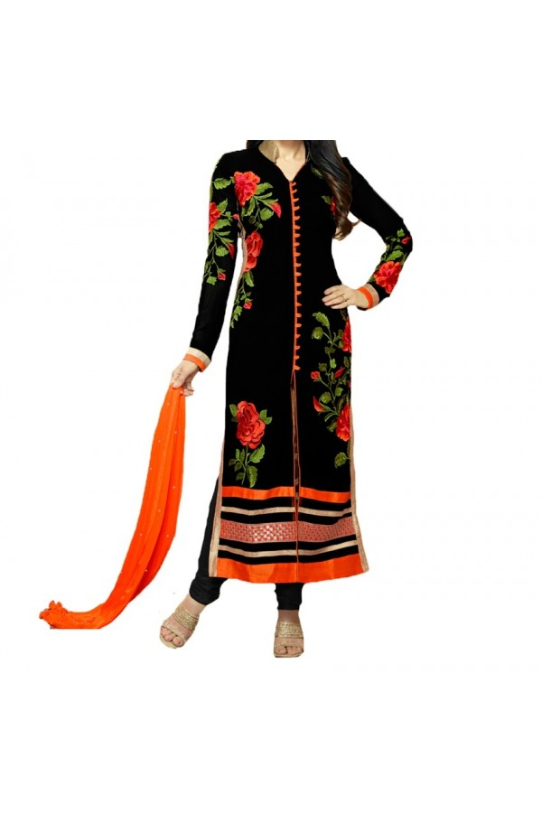 Party Wear Black  Designer  Salwar  Suit  -  Black Rose suite