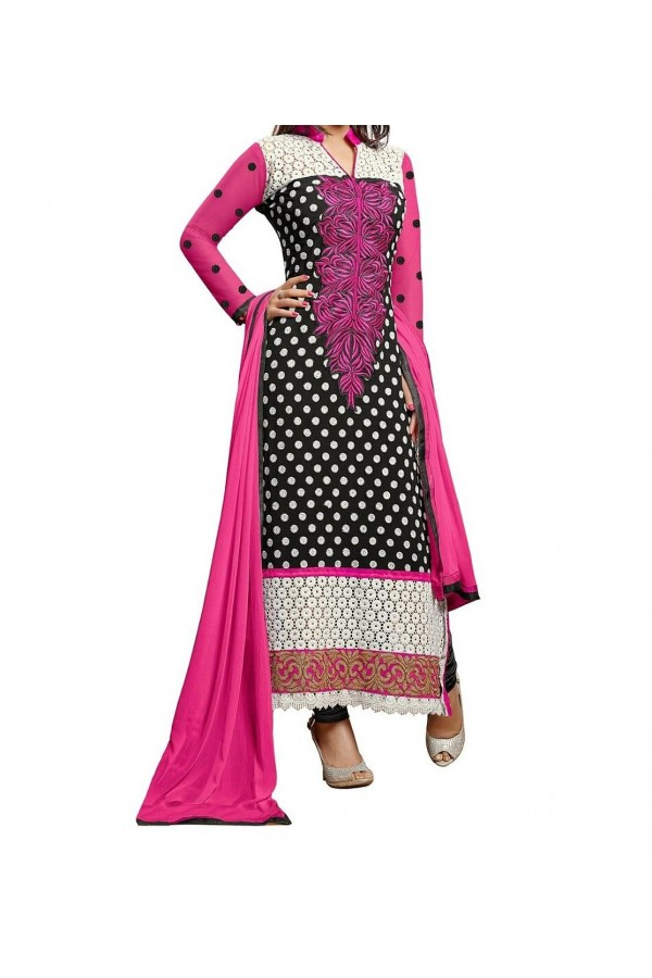 Party Wear Pink  Designer Salwar Suit  - Heenari Black