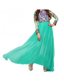 Party Wear Blue Designer Anarkali Suit  - Krishma  Turtle