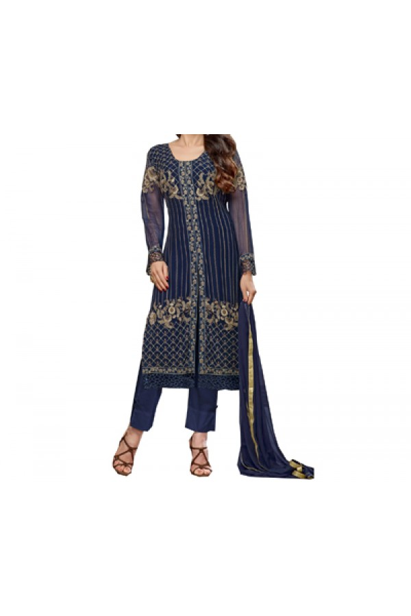 Party Wear Blue Designer Salwar Suit  - Krishma  63001