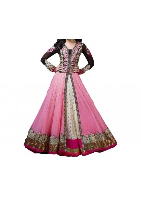 Party Wear Pink Designer Silt Anarkali Suit  -  Shraddha Pink
