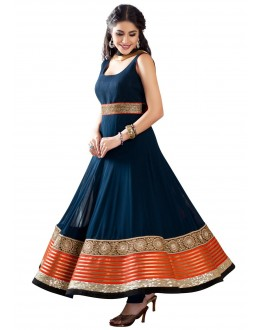 Party Wear Blue Designer  Anarkali Suit  -  Sunny Blue
