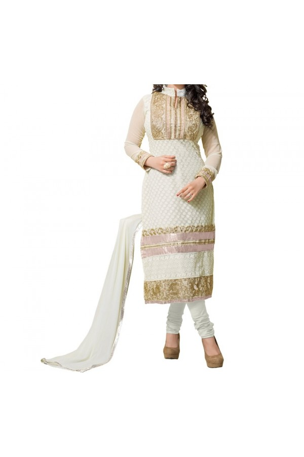 Party Wear White  Designer  Salwari Suit  -  Tarzan White