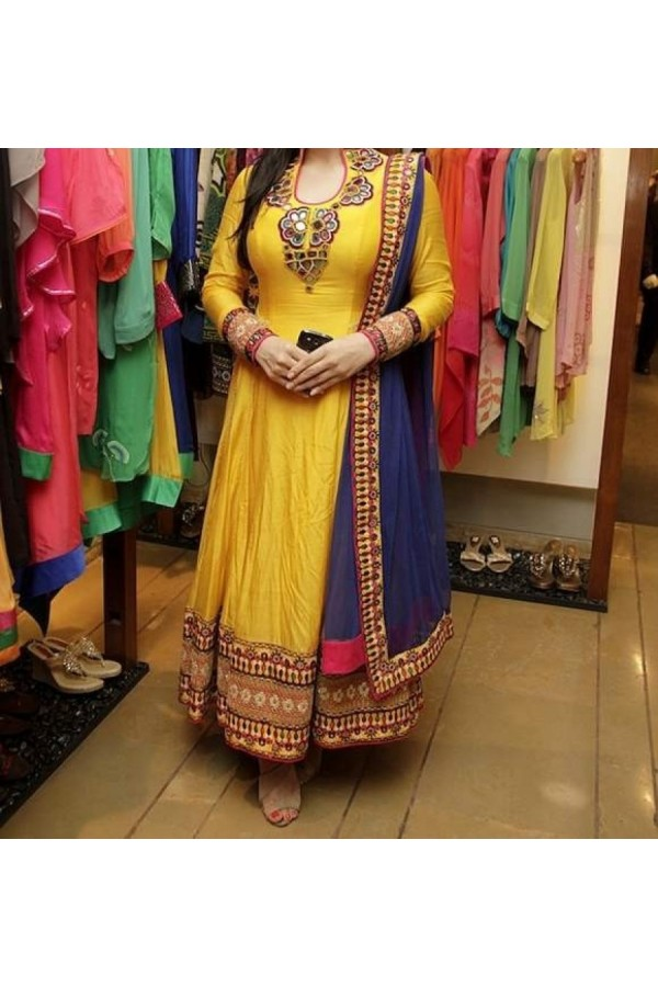 Party Wear Yellow  Designer  Anarkali  Suit  -  Zarin Yellow