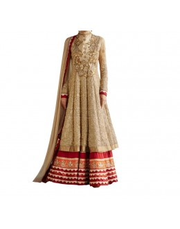 Party Wear Beige Georgette Salwar Suit - EF077