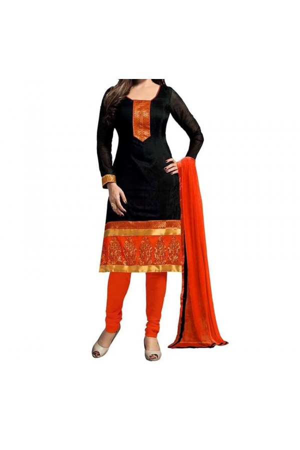 Party Wear Black & OrangeGeorgette Salwar Suit - EF029