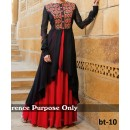 Party Wear Black & Red Georgette Salwar Suit - EF028