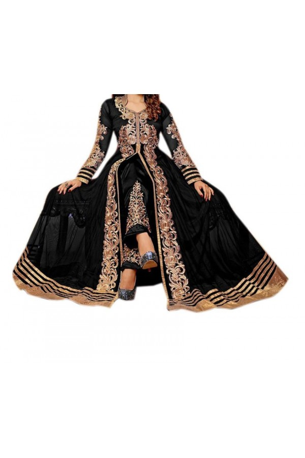 Party Wear Black Georgette Salwar Suit - EF017