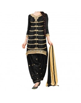 Party Wear Black gheorgette Salwar Suit - EF037