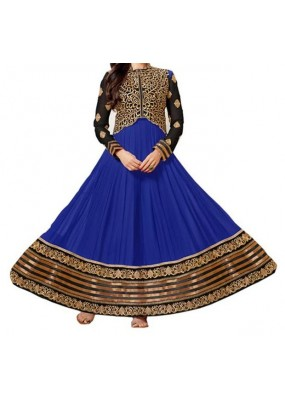Party Wear Blue Georgette Salwar Suit - EF067