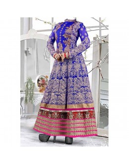 Party Wear Blue Georgette Salwar Suit - EF076