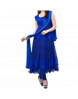 Party Wear Blue Net Salwar Suit - EF079