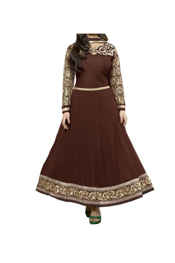 Party Wear Coffee Georgette Salwar Suit - EF071