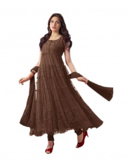 Party Wear Coffee Net Salwar Suit - EF080