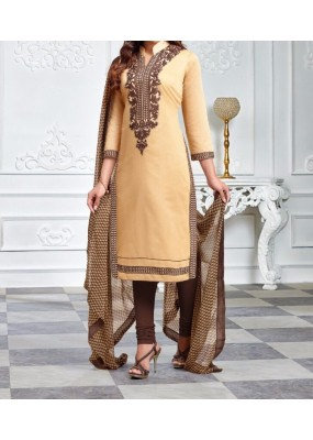 Party Wear Cream Cotton Salwar Suit - EF041