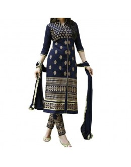 Party Wear Dark Blue Cotton Salwar Suit - EF023