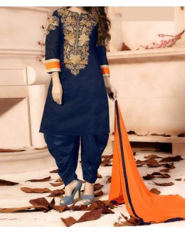 Party Wear Dark Blue Georgette Salwar Suit - EF051