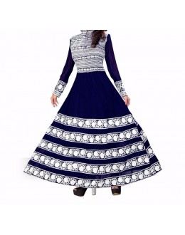 Party Wear Dark Blue Georgette Salwar Suit - EF059