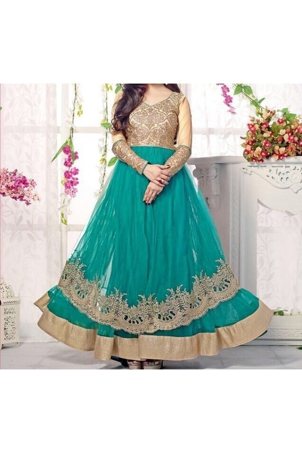 Party Wear Green Georgette  Salwar Suit - EF056