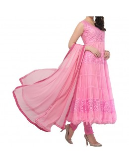 Party Wear Light Pink Net Salwar Suit - EF082