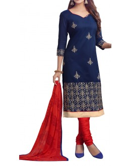 Party Wear Navy Blue & OrangeGeorgette Salwar Suit - EF030