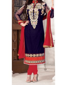 Party Wear Navy Blue & Red Georgette Salwar Suit - EF012