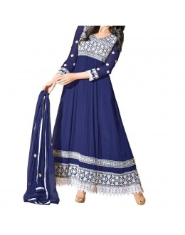 Party Wear Navy Blue Georgette Salwar Suit - EF007