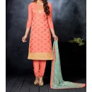 Party Wear Orange Cotton Salwar Suit - EF043