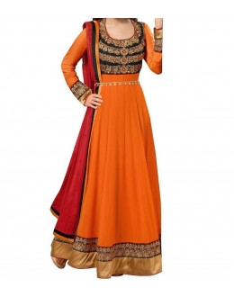 Party Wear Orange Georgette Salwar Suit - EF064