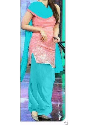 Party Wear Pink & Blue Georgette Salwar Suit - EF016