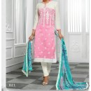 Party Wear Pink & white Cotton Salwar Suit - EF038