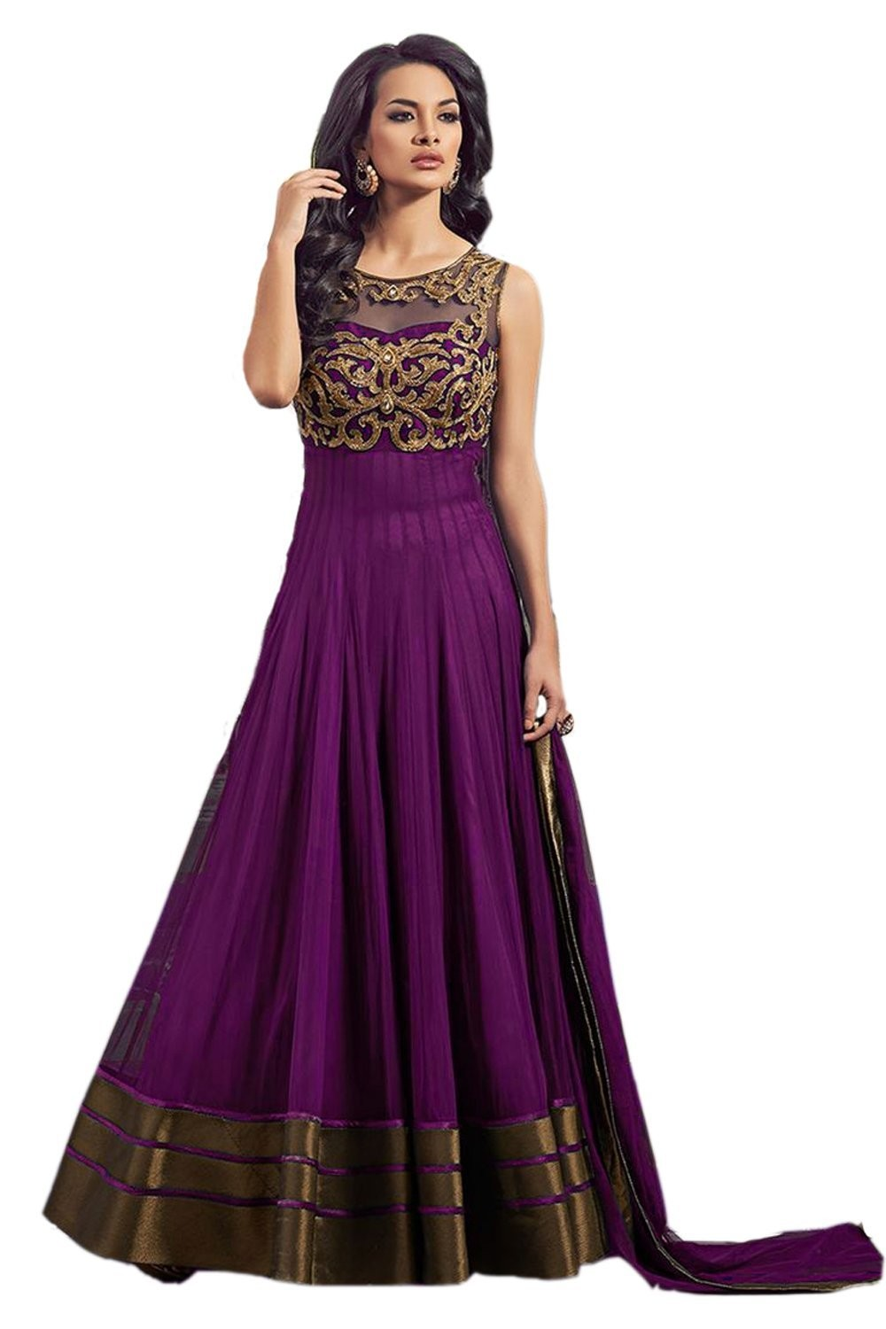 Party Wear Purple Net Embroided Salwar Suit - EF036