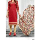 Party Wear Red Cotton Salwar Suit - EF045