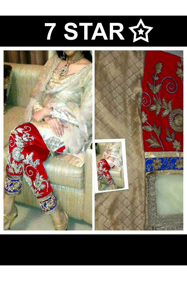 Party Wear White & Red Georgette Salwar Suit - EF006