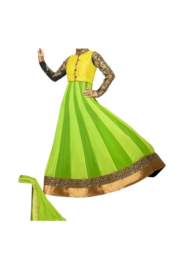 Party Wear Yellow & Green Georgette Salwar Suit - EF048