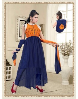 Eid Wear Blue Net Designer Anarkali Suit - Elegant 01