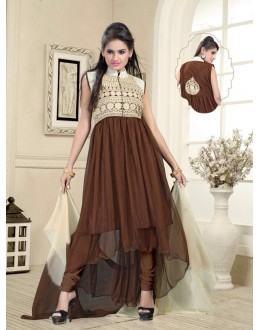 Eid Wear Brown Net Designer Anarkali Suit - Elegant 02