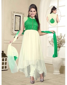 Eid Wear White Net Designer Anarkali Suit - Elegant 03