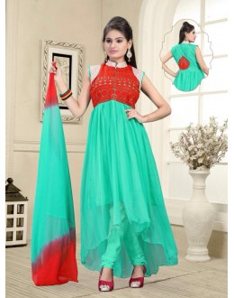 Eid Wear Green Net Designer Anarkali Suit - Elegant 04
