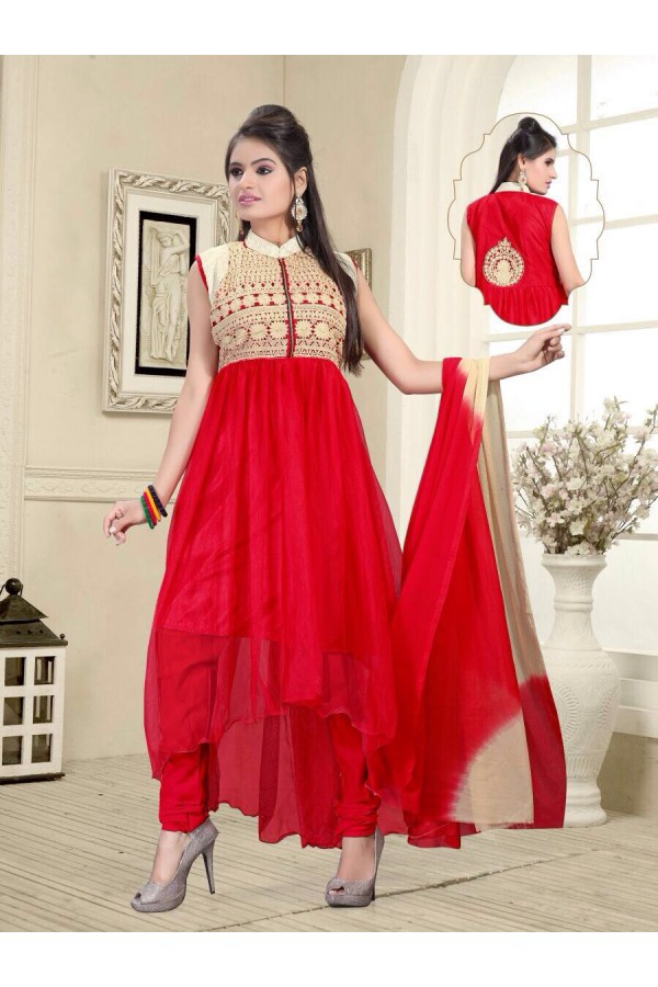 Eid Wear Red Net Designer Anarkali Suit - Elegant 05