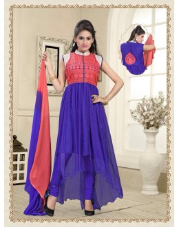 Eid Wear Blue  Net Designer Anarkali Suit - Elegant 09