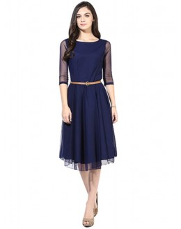 Party Wear Faux Georgette Blue Kurti - 101