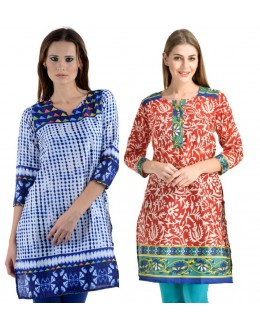 Readymade Crepe Blue &  Red Combo Kurti - KRT6068