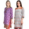 Readymade Crepe Purple & Orange Combo Kurti - KRT7174