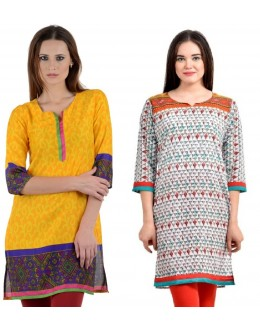 Readymade Crepe Yellow &  Orange Combo Kurti - KRT6074