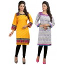 Readymade Crepe Yellow & Purple Combo Kurti - KRT7574A