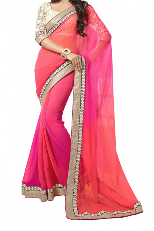Party Wear Pink Georgette  Saree - 2D_SAREE