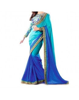 Party Wear Blue Georgette  Saree - 19903