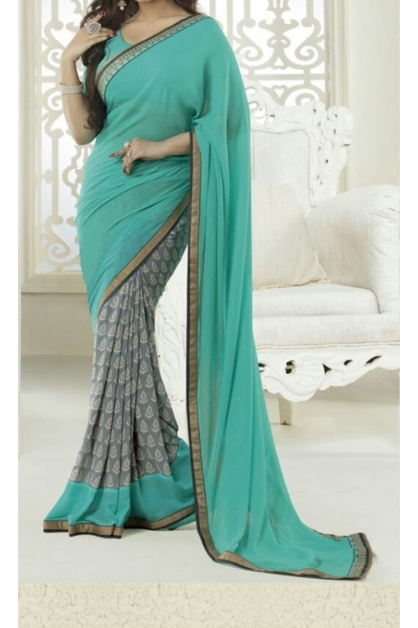 Party Wear Sea Green Georgette  Saree - 19908