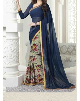Party Wear Blue Georgette  Saree - 19909